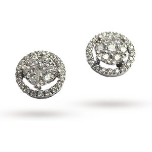 Ponte Vecchio 18ct White Gold 0.30ct Halo Stud Earringss Co859brw Womens Jewellery