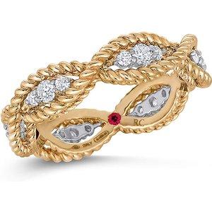 Roberto Coin New Barocco 18ct Yellow Gold 0.48ct Diamond - Rings Size N Adr777ri0533145 Yw Womens Jewellery