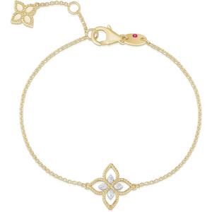 Roberto Coin Princess Flower 18ct Bi-colour Gold Diamond Bracelet Adr777br2666 Yw Womens Jewellery