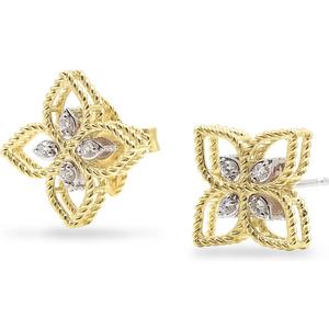 Roberto Coin Princess Flower 18ct Bi-colour Gold Diamond Stud Earrings Adr777ea2666 Yw Womens Jewellery
