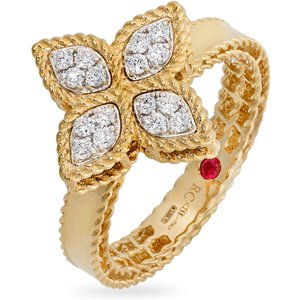 Roberto Coin Princess Flower 18ct Gold 0.18ct Rings - Rings Size M Adr777ri0639 Womens Jewellery