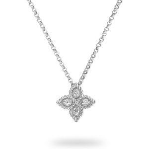 Roberto Coin Princess Flower 18ct White Gold Pendant Adr777cl0679 Womens Jewellery
