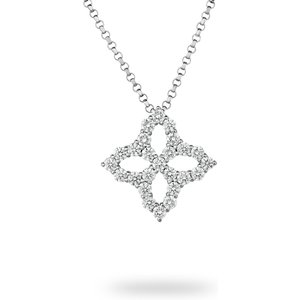 Roberto Coin Princess Flower White Gold 0.15ct Diamond Pendant Adr888cl1496 Womens Jewellery