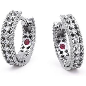 Roberto Coin Symphony 18ct White Gold 0.24ct Diamond Hoop Earrings Adr777ea0817 W Womens Jewellery