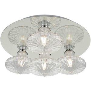 C5777/989 Four Light Flush Ceiling Light In Chrome With Clear Transparent Glasses Cf5777/989 Lighting