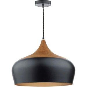 Dar Gau8622 Gaucho Large Black Single Ceiling Pendant Light Lighting
