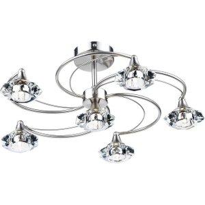 Dar Lut0646 Luther 6 Light Satin Chrome Semi Flush Ceiling Light Lighting
