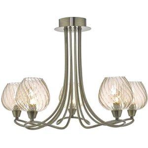 Dar Siv5475 Sivyer 5 Light Semi Flush Ceiling Light In Antique Brass Dar5475 Lighting