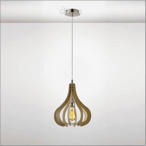 Diyas Il31660 Lorna 1 Light Ceiling Light In Polished Chrome And Wood - Dia: 300mm Lighting