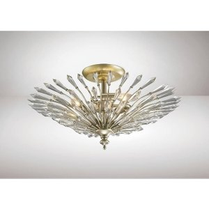 Diyas Il31671 Fay 3 Light Semi Flush Ceiling Light In Aged Silver And Gold Lighting