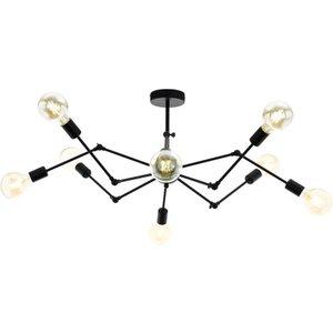 Eglo 49037 Exmoor 8 Light Semi Flush Ceiling Light In Black - Fitting Only Lighting