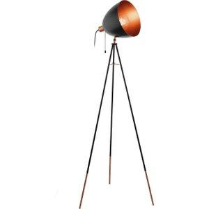 Eglo 49386 Chester 1 Light Tripod Floor Lamp In Copper And Black Lighting