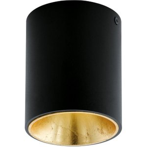 Eglo 94502 Polasso One Light Cylindrical Led Ceiling Light In Black And Gold Lighting