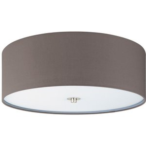 Eglo 94922 Pasteri One Light Flush Ceiling Light In Satin Nickel With Brown Shade Lighting