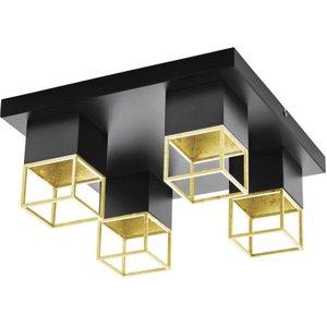 Eglo 97731 Montebaldo 4 Light Semi Flush Ceiling Light In Black And Gold Lighting