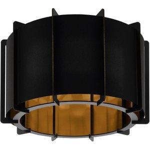 Eglo 98339 Pineta 1 Light Flush Ceiling Light In Black Steel And Black And Gold Lighting