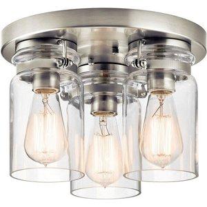 Elstead Kl/brinley/f Ni Brinley 3 Light Flush Mount Ceiling Light In Brushed Nickel Lighting