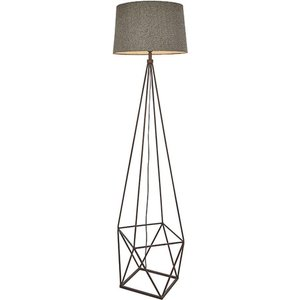Endon 90541 Apollo 1 Light Floor Light In Aged Copper Paint With Grey Linen Shade Lighting