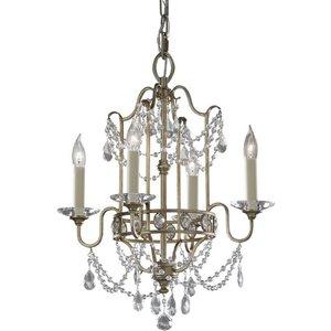 Fe/gianna4 Gianna 4 Light Gilded Silver & Crystal Chandelier Lighting