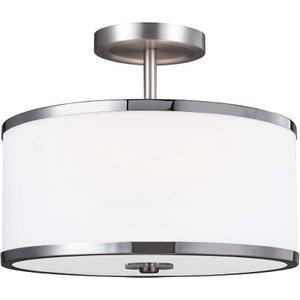 Fe/prospectpk/sf 2 Light Semi Flush Ceiling Light In Satin Nickel And Chrome Lighting