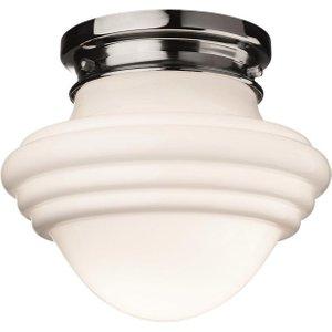 Firstlight 4944ch Art Deco Flush Ceiling Light In Chrome And Opal White Glass Lighting