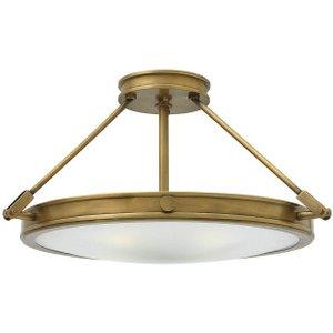 Hk/collier/sf/m Collier Medium Semi-flush Ceiling Light In Heritage Brass, Diameter 559mm Lighting