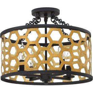 Hk/felix/sf Felix 4 Light Semi Flush Ceiling Light In Gold And Black Lighting