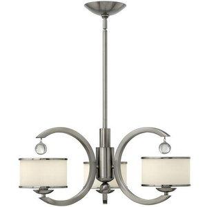 Hk/monaco3 3 Light Brushed Nickel & Glass Modern Chandelier Lighting