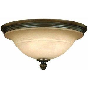 Hk/plymouth/f 3 Light Vintage Flush Ceiling Light In Bronze Lighting