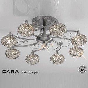 Il30938 Cara Satin Nickel 8 Light Flush Ceiling Light Lighting