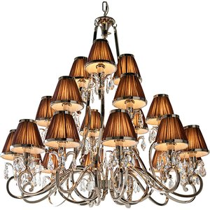 Interiors 1900 63510 Oksana Nickel 21 Light Ceiling Pendant Light In Nickel With Chocolate Lighting