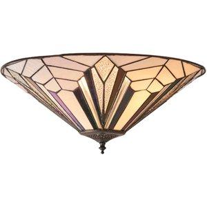 Interiors 1900 63935 Astoria Tiffany 2 Light Large Flush Ceiling Light With Shade  Lighting
