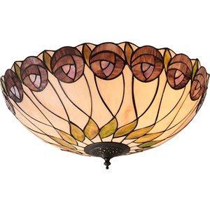 Interiors 1900 64173 Hutchinson Tiffany 2 Light Flush Ceiling Light In Dark Bronze Lighting
