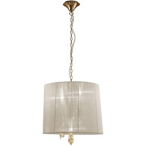 Mantra M3860fg Tiffany 3+3 Light Single Pendant Light In French Gold With Cream Shades Lighting