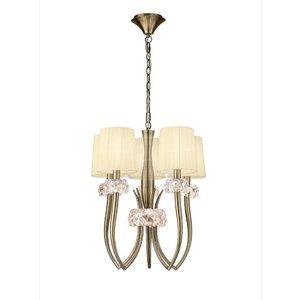 Mantra M4632ab Loewe 5 Light Slim Pendant Light With Shades In Antique Brass Lighting