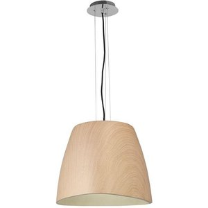 Mantra M4821 Triangle 1 Light Large Ceiling Pendant In Chrome And Beech - Dia: 470mm Lighting