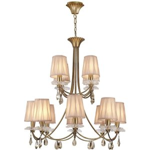 Mantra M6290 Sophie Gp 12 Light Pendant Light In Painted Gold With Shades Lighting
