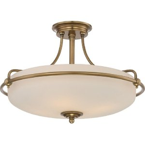 Qz/griffin/sfmws Griffin 4 Light Semi-flush Ceiling Light In Weathered Brass Lighting