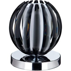 Searchlight 1811sm Chrome Finish Touch Table Lamp With Smokey Glass Lighting