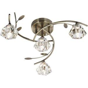 Searchlight 2634-4ab Sierra 4 Light Semi Flush Ceiling Light Antique Brass Lighting
