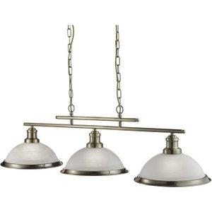 Searchlight 2683-3ab Bistro 3 Light Ceiling Bar Pendant Light Antique Brass Lighting