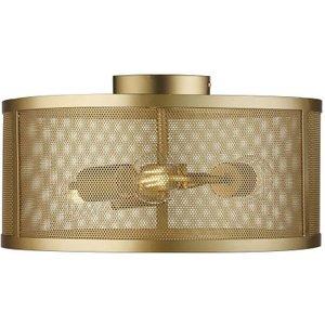 Searchlight 2843-3go Fishnet 3 Light Flush Ceiling Light In Matt Gold Lighting