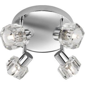 Searchlight 3764cc-led Triton Four Light Ceiling Round Plate Spotlight In Chrome And Glass Lighting