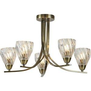 Searchlight 4275-5ab Ascona Ii Five Light Semi Flush Ceiling Light In Antique Brass Lighting