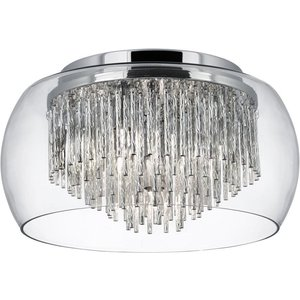 Searchlight 4624-4cc Curva 4 Light Flush Ceiling Light In Chrome And Clear Glass Lighting