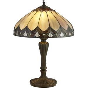 Searchlight 6705-40 Pearl Large Table Lamp In Antique Brass With Tiffany Glass - H: 560mm Lighting