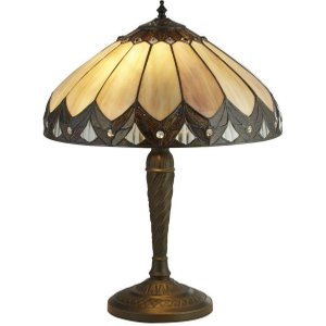 Searchlight 6706-40 Pearl Small Table Lamp In Antique Brass With Tiffany Glass - H: 530mm Lighting