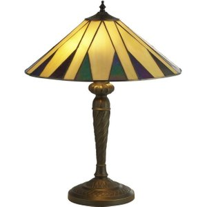 Searchlight 7066-42 Charleston Small Table Lamp In Antique Brass With Tiffany Glass - H: 5 Lighting