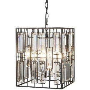 Searchlight 7454-4bk 4 Light Ceiling Lantern Pendant Light In Matt Black With Bevelled Gla Lighting