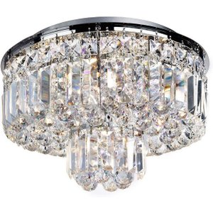 Searchlight 7755-5cc Vesuvius 5 Light Flush Ceiling Light In Chrome With Crystal Glass Lighting